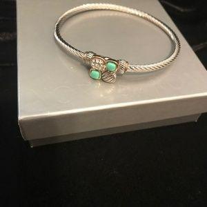 Silver Buckle Bracelet w/ Turquoise Stones